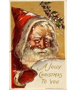 c.1908 CHRISTMAS Santa Glitter HOLLY postcard P153 - $9.99