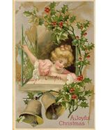 c.1910 CHRISTMAS Bells CHILD Holly postcard P154 - $9.99
