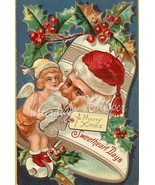 SWEETHEART c.1909 CHRISTMAS Santa CUPID postcard - $9.99