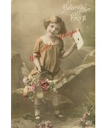 Edwardian Young GIRL Flower Basket FRENCH postcard P115 - $9.99