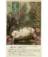 Edwardian BABY Birth ANNOUNCEMENT FRENCH postcard P129 - $9.99