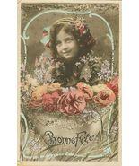 Edwardian Young GIRL Flowers Bonne FETE PARIS postcard - $9.99