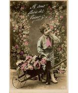 Edwardian SWEET Young BOY Flowers PARIS postcard P141 - $9.99