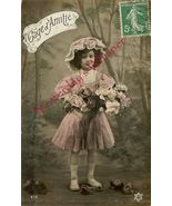 Edwardian YOUNG GIRL Flowers French ORG postcard P104 - $9.99