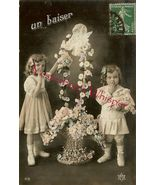 Edwardian YOUNG Sisters FLOWER French ORG postcard P107 - $9.99