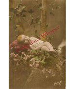 Edwardian SWEET Baby FLOWERS ORG French postcard P112 - $9.99