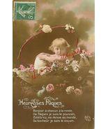 Edwardian Chubby CHILD EGG Flowers FRENCH postcard P114 - $9.99