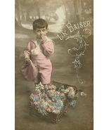 Edwardian SWEET Young BOY Flowers PARIS postcard P138 - $9.99