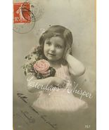 Edwardian Little GIRL Flowers FRENCH postcard P149 - $9.99