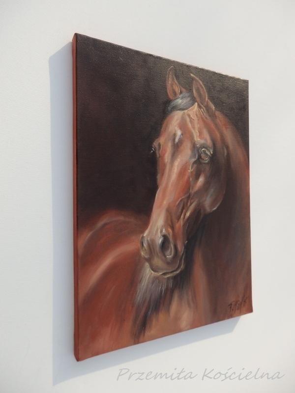 Custom Horse Portrait, Miniature Oil Painting, Horse head, Animal, Framed Art