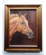 Custom Horse Portrait, Miniature Oil Painting, Horse head, Animal, Frame... - $100.00
