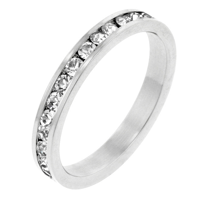 Clear CZ White Gold Plated Channel Set Eternity Band Ring Size 7