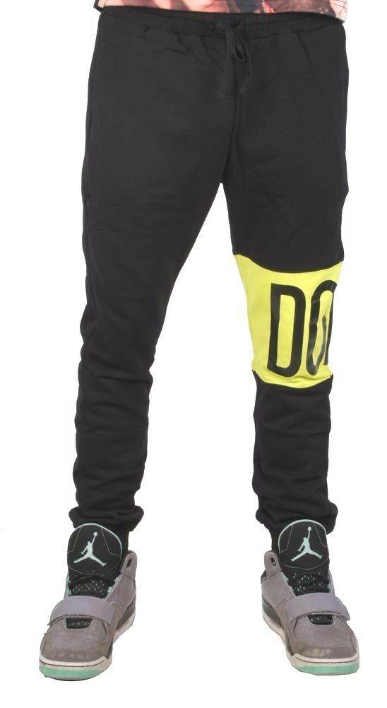 Dope Couture Colore Blocchi di Nero Giallo Fluo Pantaloni Tuta Jogging Nwt