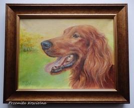 Custom Dog Portrait, Miniature Oil Painting on Canvas, Pet portrait, Fra... - $100.00