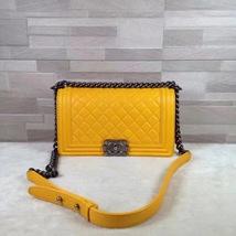 AUTH Chanel Boy Medium Bright Yellow Calfskin Bag SHW