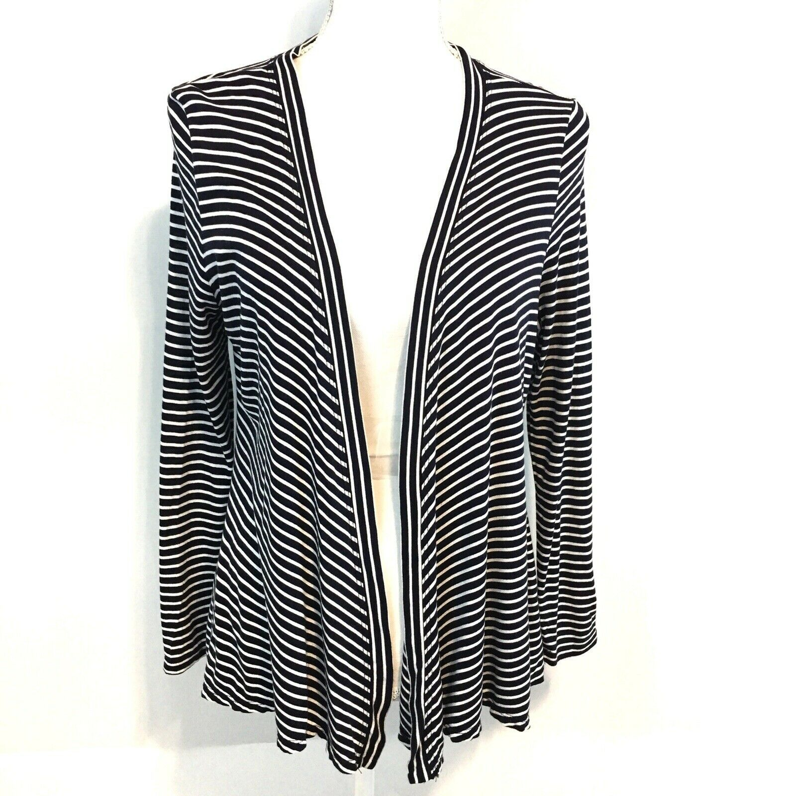 Primary image for Talbots Petites Open Draped Cardigan MP Navy Stripe Lightweight Bracelet Sleeve