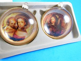 "NIB 4"" Glass Christmas Ornament Da Vinci paintings Madonna and child Gol... - $12.61"