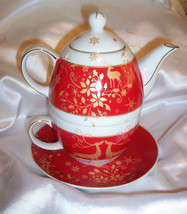 SORELLE Fine Porcelain 4 Piece Christmas Tea For One Set w/Reindeer - $24.74