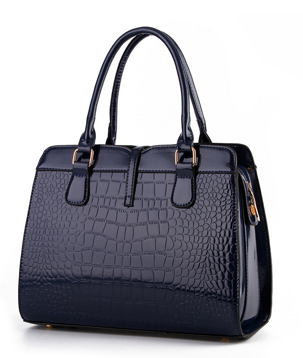 Free Shipping Patent Leather Handbags Crocodile Pattern Shoulder Bags B15-5