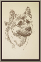 AKITA DOG ART Signed Stephen Kline Lithograph #46 draws your dogs name f... - $49.45