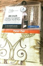 Mainstay 84-Inch Brown European Damask Panel Pair (2 Panels) 40in W X 84in H ea - $19.59