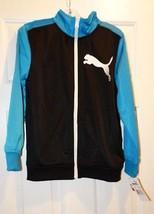 PUMA Big Boys' Colorblocked Tricot Jacket, Black, Small - $23.14