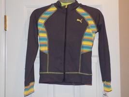PUMA Big Girls' Striped Inset Track Jacket, Grey Cooler, Medium - $24.18