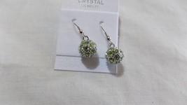 Earrings Ball Peridot 18K gold plated + Swarovski Elements Cristal - $14.50