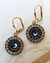 Bridal Earrings, Swarovski, European crystals, Bule. Pave'. For sensitiv... - $35.00