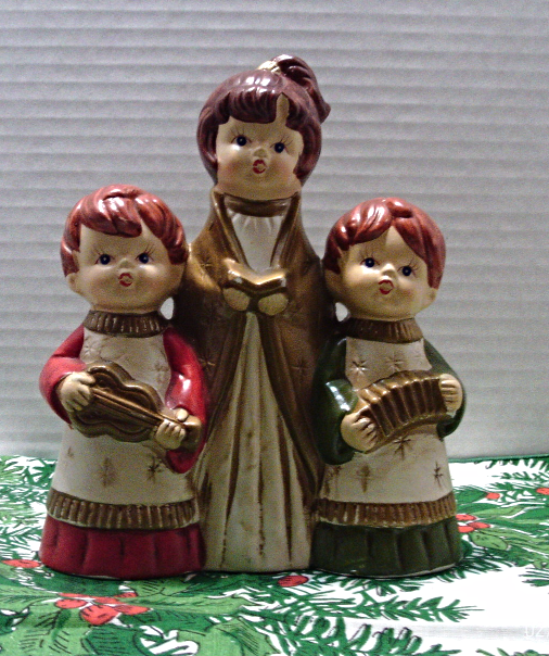 Singing Carolers Candleholders Figurines Vintage By: Vintage K.N. JAPAN Paper Mache CHRISTMAS CAROLERS Figurine