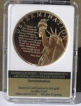Remembering 9/11 24k Gold Plated Proof 40mm Medallion~Determination - $23.55