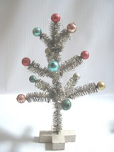 "Decorated Little Tinsel Tree Mercury Glass Colored Balls Vintage Design 6"" - $8.86"