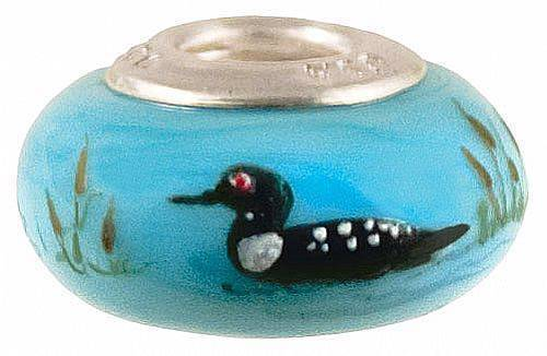 Fenton Art Glass Handpainted Bead Made in USA ''Melancholy Loon'' TJ Mendenhall