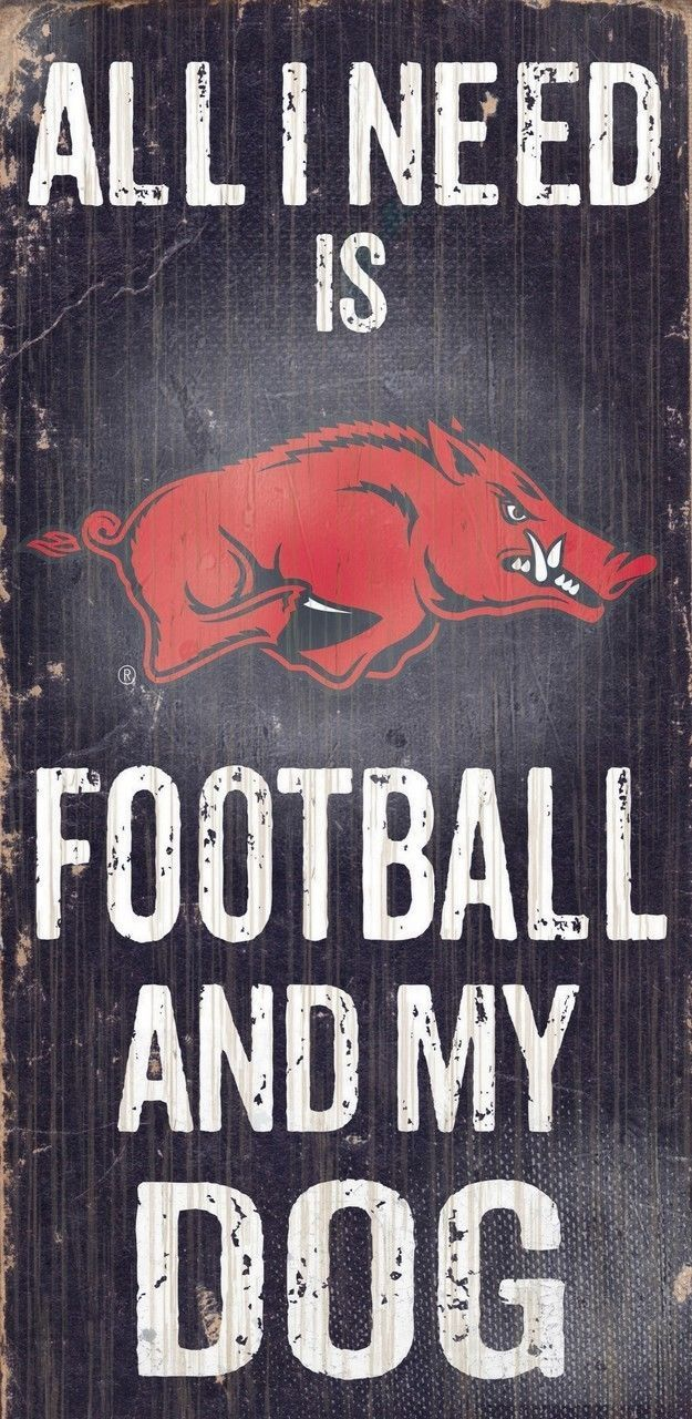 "ARKANSAS RAZORBACKS FOOTBALL & my DOG WOOD SIGN & ROPE 12"" X 6""  NCAA MAN CAVE!"