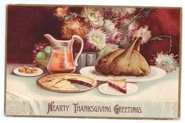 Signed Clapsaddle Roast Turkey Feast Embossed Vintage 1907 Thanksgiving ... - $4.99