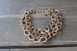 Vintage Gold Tone Three Multi Strand Bracelet 7.5 inches - $15.84