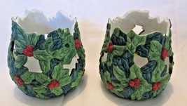 Christmas holly bush candle holders set of 2 - $12.00
