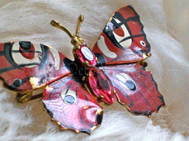 Vintage Butterfly Pin Czechoslovakian Brooch Pink Gem Swarovski Crystal ... - $35.00