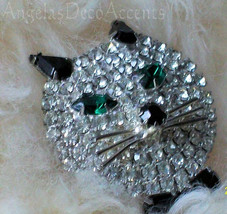 Vintage Cat Pin Cat Face Brooch with Bow Tie Bling Fashion Whimsy Jewelr... - $75.00