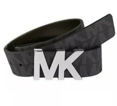 Michael Kors Unisex Signature MK Silver Logo Buckle Belt Black  NEW - $35.80
