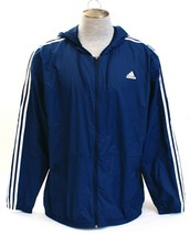 Adidas Essentials Blue & White Hooded Zip Front Wind Jacket Men's NWT - $59.99