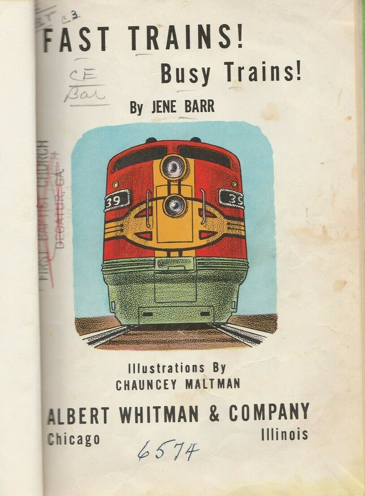 Fast Trains! Busy Trains by Jene Barr Chauncey Maltman 1959 Vintage Hardcover