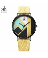 SK® Watches Women Watch Wood Strap Wristwatches Leather Band Female Cloc... - $26.40