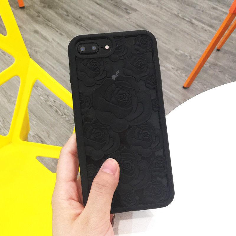 3D Hollow Rose Flower Soft Phone Case For iPhone 5 5s SE 6 6s 7 8 Plus X Case