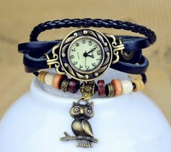 Hot Sales Vintage Cow Leather watch women ladies Fashion owl beads dress... - $3.82
