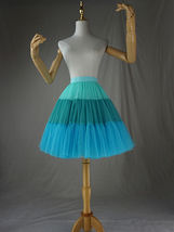 Women Knee Length Puffy Tulle Skirt Mint Green Blue Layered Tulle Skirt A-Line image 1