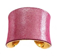 Sorbet Pink Metallic Suede Leather Cuff Bracelet - by UNEARTHED - $55.00