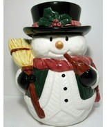 Vintage Snowman Ceramic Cookie Jar RS 24339 10.5'' Tall Winter Holiday 1... - $39.59