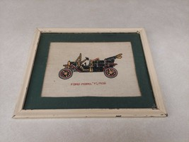 Ford Model T 1908 Cross Stitch in 8x10 Wood Frame Antique Vintage Art Ma... - $24.74