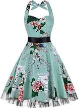 OTEN Women's Vintage Polka Dot Halter Dress 1950s Floral Sping Retro Roc... - $28.38